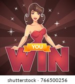 you win  vector game background ... | Shutterstock .eps vector #766500256