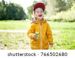 cheerful little boy with a box... | Shutterstock . vector #766502680