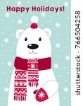 vector christmas card  cute... | Shutterstock .eps vector #766504258