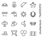 thin line icon set   dome house ... | Shutterstock .eps vector #766505293