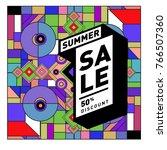 summer sale memphis style web... | Shutterstock .eps vector #766507360