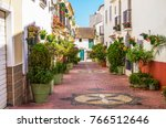 typical andalusian streets.... | Shutterstock . vector #766512646