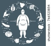 fat woman with healthy food...   Shutterstock .eps vector #766523854