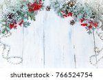 christmas wooden background... | Shutterstock . vector #766524754