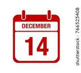 14 december calendar red icon | Shutterstock .eps vector #766525408