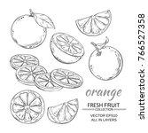 orange fruits vector set on... | Shutterstock .eps vector #766527358