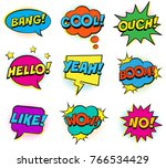 retro colorful comic speech... | Shutterstock . vector #766534429