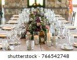 classy wedding setting.table... | Shutterstock . vector #766542748