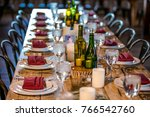 classy wedding setting.table... | Shutterstock . vector #766542760