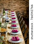 classy wedding setting.table... | Shutterstock . vector #766542766