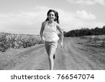 black and white portrait of... | Shutterstock . vector #766547074
