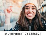 portrait of a happy and... | Shutterstock . vector #766556824