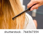 hair care. closeup of beautiful ... | Shutterstock . vector #766567354