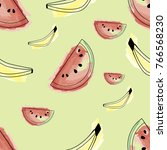 bananas and watermelons are... | Shutterstock .eps vector #766568230