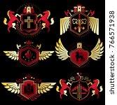heraldic vector signs decorated ... | Shutterstock .eps vector #766571938