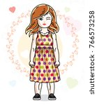 beautiful happy little red... | Shutterstock .eps vector #766573258