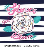 Rose Flower With Cute Floral...