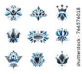 royal symbols  flowers  floral... | Shutterstock .eps vector #766576018