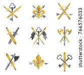 vintage weapon emblems set.... | Shutterstock .eps vector #766576033