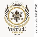 classy emblem  vector heraldic... | Shutterstock .eps vector #766582303