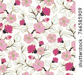 floral seamless pattern. hand... | Shutterstock .eps vector #766585909