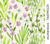 seamless watercolor floral... | Shutterstock . vector #766590124