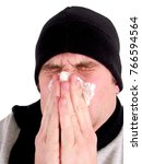 cold and flu man | Shutterstock . vector #766594564