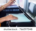 photocopying business worker    ... | Shutterstock . vector #766597048