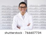portrait of an ophthalmologist... | Shutterstock . vector #766607734