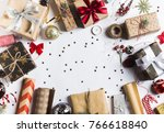 package christmas gift box. new ... | Shutterstock . vector #766618840