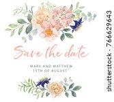 wedding invitation card... | Shutterstock .eps vector #766629643