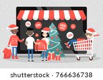 online christmas sale. a group... | Shutterstock .eps vector #766636738