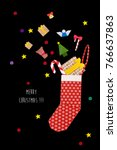 origami red christmas sock with ... | Shutterstock . vector #766637863