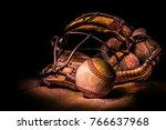 Antique Baseball With Baseball...