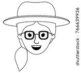 female face with hat and... | Shutterstock .eps vector #766639936