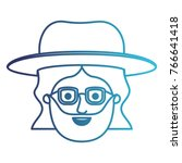 male face with hat and glasses... | Shutterstock .eps vector #766641418