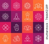 collection of yoga icons ... | Shutterstock .eps vector #766642189