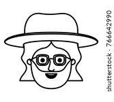 male face with hat and glasses... | Shutterstock .eps vector #766642990