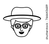 male face with hat and glasses... | Shutterstock .eps vector #766643689