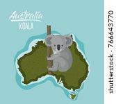 poster koala in australia map... | Shutterstock .eps vector #766643770