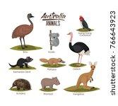 australia animals set in... | Shutterstock .eps vector #766643923