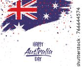 happy australia day poster with ... | Shutterstock .eps vector #766644574