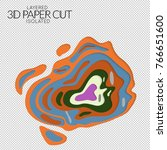 abstract 3d paper cut art shape.... | Shutterstock .eps vector #766651600