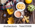 coffee or hot chocolate cup on... | Shutterstock . vector #766655008