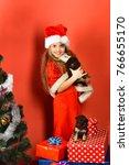 Miss Santa Holds Little Dog...
