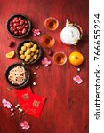 flat lay chinese new year food