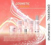 3d realistic cosmetic bottle... | Shutterstock .eps vector #766660660