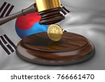 bitcoin and judge gavel laying...   Shutterstock . vector #766661470
