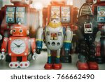 old classic tin toy robots ... | Shutterstock . vector #766662490