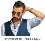 turkish macho man model posing... | Shutterstock . vector #766665310